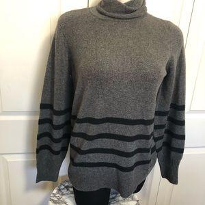 Michael kors grey turtle neck striped sweater sz.L